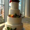 The Courtney The Mint Museum Uptown  4 Tier Serves 160 Tier 1 Almond Pound Cake with Vanilla ButterCream  Tier 2 White Wedding Cake with Raspberry/Lemon Filling  Tier 3 Vanilla Pound Cake with Raspberry Glaze  Tier 4 Lemon Pound Cake with Raspberry Mousse Filling