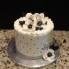 "9"" Butter Almond Pound Cake Vanilla ButterCream Filling/Frosting Decoration:  Black/White and Silver"
