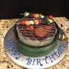 Grill Cake Almond Pound Cake With Ganache And Vanilla Filling/Frosting  Fondant Decorations