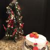 Red Velvet Cheesecake Cake Vanilla ButterCream Frosting Decorated With Fondant Christmas Ornaments