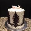 Mile High Red Velvet Cake Vanilla ButterCream Filling/Frosting Decorated with Chocolate Trees