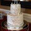 The Lauren! 2 Tier Wedding Cake With White And Silver  Decorations To Match The Bride's Dress! Almond Pound Cake With Lemon/Raspberry Filling Red Velvet Cake With Vanilla ButterCream Filling Covered With Vanilla ButterCream Frosting