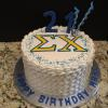 Strawberry Cake Strawberry Cream Cheese Filling  Champagne ButterCream Frosting Sigma Chi Logo