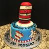 "Dr. Seuss Baby Shower 9"" Chocolate Chip Fudge Cake Vanilla ButterCream Filling Vanilla (Blue) ButterCream Frosting"