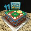 "10"" Square Softball Birthday Party Chocolate Fudge Cake Chocolate ButterCream Filling and Frosting"