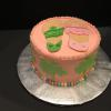 Jack Rogers Sandals on top Green Palm Trees Vanilla Pound Cake and Vanilla ButterCream (Pink) Filling/Frosting