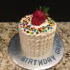 "Happy Birthday Grandpa! 6"" Vanilla Pound Cake with Strawberry Mousse Filling and Vanilla ButterCream Frosting"