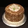 Carrot Cake Covered with Toasted Pecans.  ButterCream Hydrangeas on top!