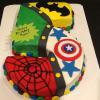 Super Hero Cake!  One Layer Pound Cake with Cream Cheese Frosting!