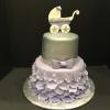 Baby Carriage 2 Tier Cake.   Silver and Lavendar