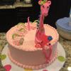 "10"" Happy Birthday Vanilla Pound Cake with Cream Cheese Filling and Pink Vanilla ButterCream Frosting  Decorations:  Giraffe"