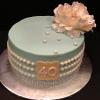 "10"" Vanilla Pound Cake  Teal with ivory"