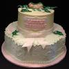 "Sweet Pea Baby Shower Cake! Delivered to The Chimney's of Marvin Clubhouse.  2 Tier Cake 12"" Petal Vanilla Pound  for the bottom tier 8"" Round Almond Pound Cake"