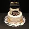 "2 Tier with Graduation Cap! Serves 36 Delivered to Premier, Inc.  6"" and 9"" Cakes"