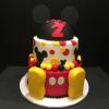 "Mickey Mouse Happy Birthday Cake! Top Tier 6"" Chocolate Chip Fudge Cake 10"" Bottom Tier Signature Cake (Vanilla Pound Cake, Lemon/Raspberry Glaze) and Vanilla ButterCream Covered with Red Fondant."