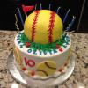 Olivia wanted a Softball Birthday Cake.  It is Red Velvet Cake with Buttercream Filling.