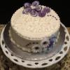 A very simple and elegant Spring Birthday Cake. Almond pound cake with vanilla filling and frosting.
