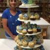 For Teacher's Appreciation Day, I made hydrangea decorated cup cakes and a hydrangea pina colada cake.