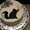 Here is a close up, top view of this cake.  The kitten and butterfly are so cute.