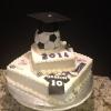 This graduation cake is chocolate fudge cake with chocolate butterceam filling and vanilla buttercream frosting.